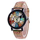 Women's Multicolor Denim Artificial Leather Strap Number Turntable Quartz Bracelet Wrist Watch
