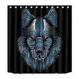 Wasserdichter Duschvorhang mit Tiermotiven, Tiger, Wolf, antibakteriell und schimmelresistent, Polyester, mit 12 Haken (180 x 180, Wolf 02)