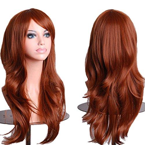 Topbuti Women's Hair Wig Long Big Wavy Hair Heat Resistant Wig (Brown)