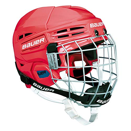 Bauer Kinder Eishockeyhelm nit Schutzgitter PRODIGY-Serie für Kids Helm Eishockey, rot, one Size