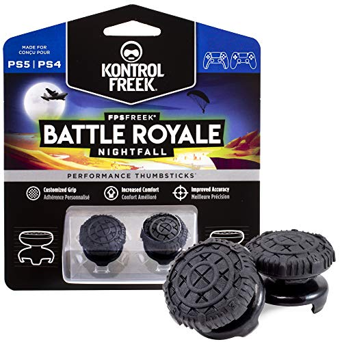 KontrolFreek FPS Freek Battle Royale Nightfall for PlayStation 4 (PS4) and PlayStation 5 (PS5) | Performance Thumbsticks | 2 High-Rise Convex Black
