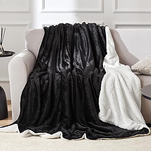 EHEYCIGA Sherpa Decke – wohndecken kuscheldecken 150x200cm Schwarz und Weiß - extra weiche und warme Decke Sofa, als Sofadecke, Couchdecke oder wohndecke, XL Flauschige Kuschel Decke
