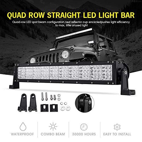 POWLAB LED Light Bar 22 inch Quad Row 120W LED Driving Light Off-Road Lights Spot Flood Combo Work Light Fog Lamp 12000lm Waterproof for SUV, ATV, UTV, Jeep, Vehicle, Pickup