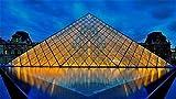 Louvre Museum Pyramid 3D Jigsaw Puzzle 1000 Piece,Ensamblado De Madera Diy Juguetes De Ensamblaje De Rompecabezas Para Niños,Rompecabezas De Madera Regalo De Madera