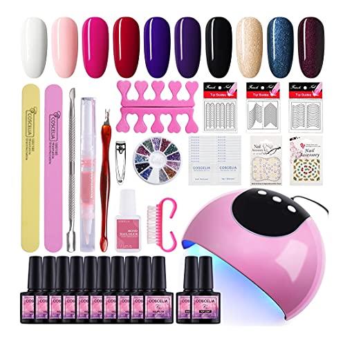 Kit De Esmalte De Uñas En Gel 10 Colores De Gran Capacidad De 8ML Lámpara de Uñas LED/U-V 24W Top Base Gel Manicura/Pedicura Nail Art