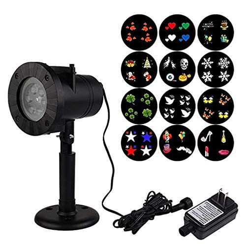 Abazq LED Projector Light Waterproof Garden Lamp Sparkling Landscape 12 Pattern Gobos for Lighting on Yard,Halloween,Xmas,Party etc Outdoor Indoor Decoration