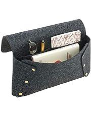 mDesign sängväska med 2 fack – rymlig sängficka i polyester och metall – förvaringslösning som ersätter ett traditionellt sängbord – mörkgrå/guld