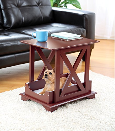 Wood Coffee Side Table with Fleece Like Pet Bed - Great for Med/Small Dogs and Cats