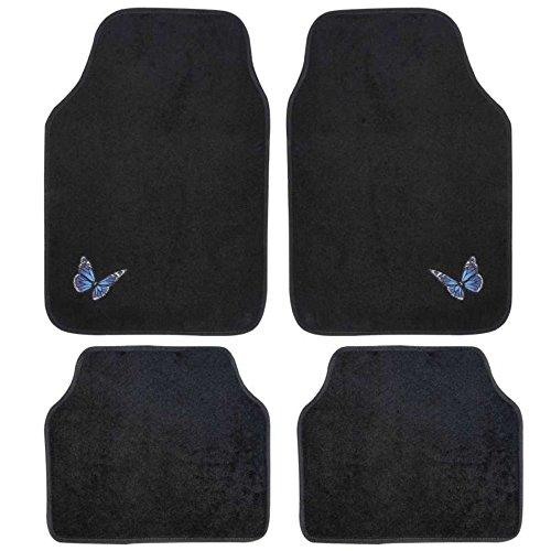 Alfombras para suelo antideslizante de coche, 4 piezas, universal, bordada, diseño de mariposas azules