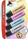 Evidenziatore - STABILO BOSS ORIGINAL Pastel - Pack da 4 - Arancione Papaya, Fucsia Freddo, Azzurro Cielo, Grigio Polvere