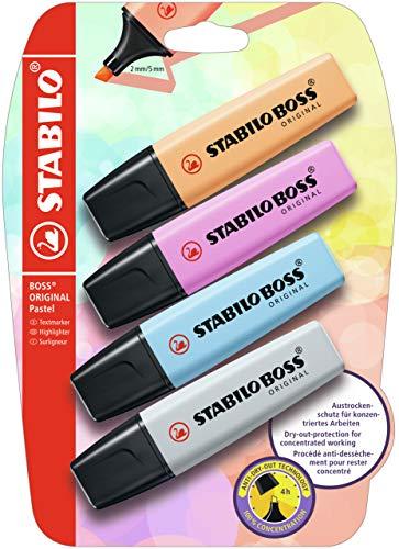 Marcador STABILO BOSS ORIGINAL Pastel - Pack 4 colores pastel