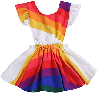 9ab9bd52c MILWAY Infant Baby Girls Rainbow Dress Newborn Baby Ruffle Sleeve Skirt  Bowknot Backless Dress Outfit Summer