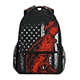 Bass Fishing Lure And American Flag Casual Backpack Bag, Fashion Lightweight Backpacks for Teen...