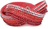 styleBREAKER weiches Strass Armband, eleganter Armschmuck mit Strassteinen, Wickelarmband, 6x1-Reihig, Damen 05040005, Farbe:Koralle/Dunkelrot-Rot-Klar