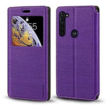 Motorola Moto G Stylus Case Wood Grain Leather Case with Card Holder and Window Magnetic Flip Cover for Motorola Moto G Pro