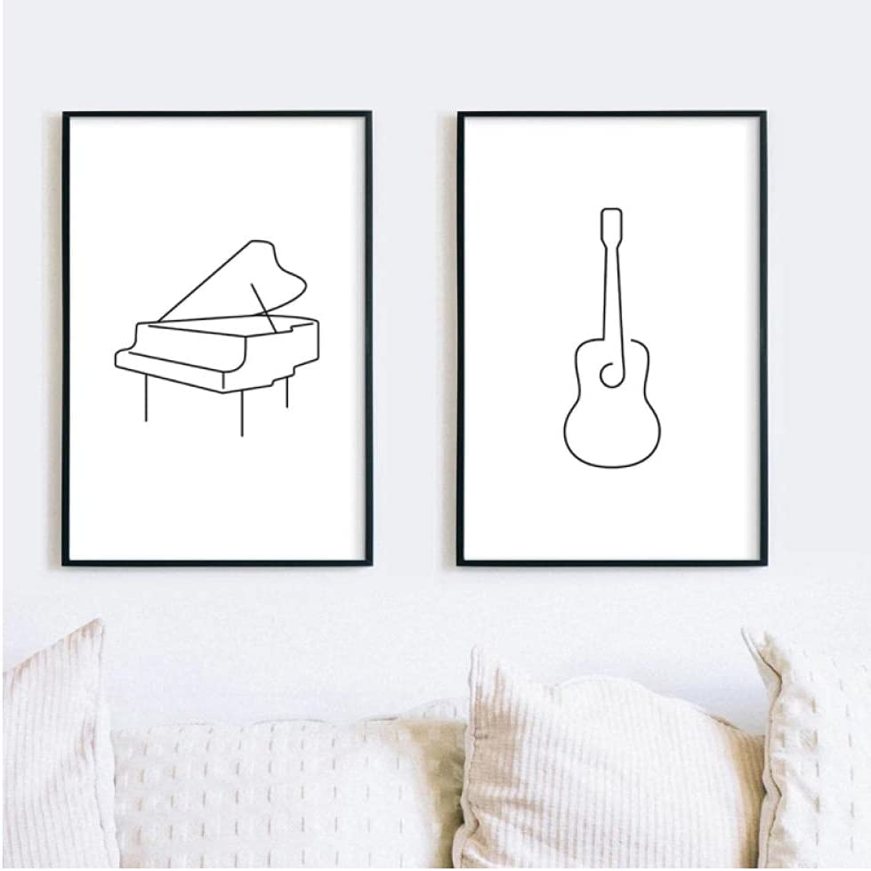 LLXHG Póster de Arte de música nórdica, póster de Guitarra clásica, Dibujo de línea de Piano, Imagen de Pared para decoración de Sala de Estar, decoración del hogar-50x70cmx2