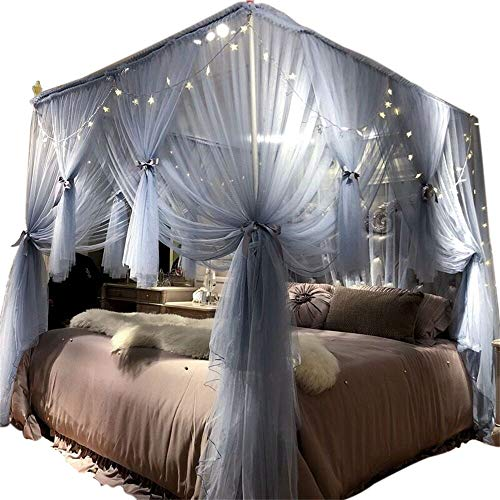 """Joyreap 4 Corners Post Canopy Bed Curtain for Girls & Adults - Royal Luxurious Cozy Drape Netting - 4 Opening Mosquito Net - Cute Princess Bedroom Decoration Accessories (Gray-blue, 86""""W x 78""""L, King)"""