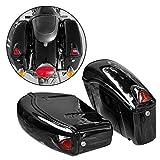 FY Black Hard Saddle Bag Trunk Luggage w/Lights for Honda Motorcycle Cruiser