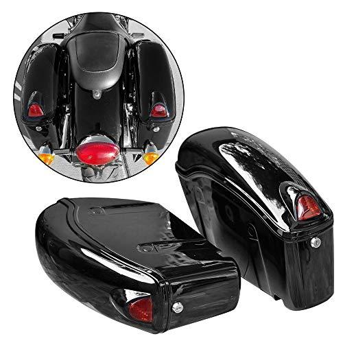 FY Black Hard Saddle Bag Trunk Luggage w Lights for Honda Motorcycle Cruiser