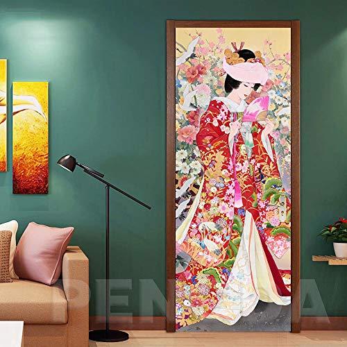 Behang deurbehang zelfklevend deurposter Kimono meisjes creatief in formaat 77 x 200 cm - vinyl deur muurschilderwerk deur behang voor slaapkamer badkamer 88x200cm