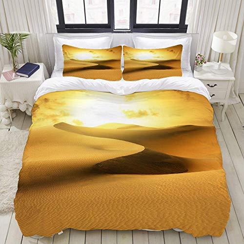 Funda nórdica, Gold Desert en Sunset. Canarias, Canarias, Juego de Ropa de Cama Conjuntos de Colcha de poliéster de Lujo Ultra cómodo y Ligero