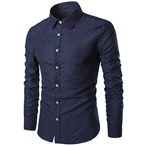 Lushi Herren Langarmshirt Bedruckt Herren Hemd Polka Dot Gr. M, blau