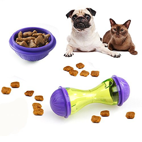 Xpccj Comedero dispensador de Comida para Mascotas, Juguete Interactivo para Gatos, Juguetes para Mascotas con Forma de Hueso para Masticar Juguetes dispensadores de Alimentos para Perros y Gatos