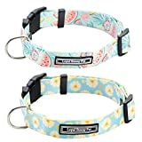 LoyalSunnypet Cute Dog Collar 2Pcs with Quick Release Buckle,Premium,Adjustable Soft Comfortable Floral Collars for Girl Dogs