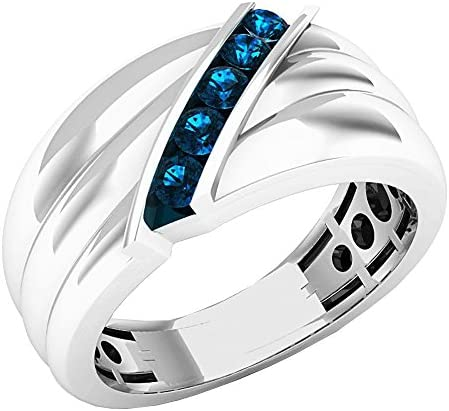 Dazzlingrock Collection 0 30 Carat ctw Sterling Silver Round Blue Diamond Men s 5 Stone Wedding product image