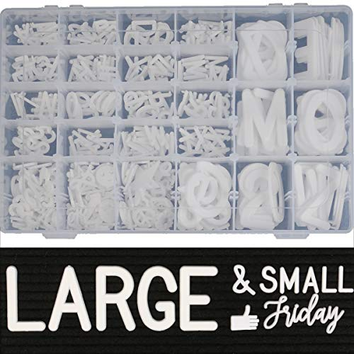 466 Extra White Letters with Organizer for Changeable Felt Letter Board Letters White (3/4 inch and 2 inch) + 11 Cursive Words + 12 Months + 7 Days + 1 Organizer Pre-Cut Plastic White Letters