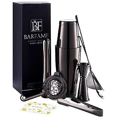 """Barfame Cocktail Shaker Set Stainless Steel Bartender Kit: 18oz & 28oz Boston Shaker, Double Jigger, 8''Muddler, 2 Liquor Pourers, 12"""" Mixing Spoon, Cocktail Strainer, Cocktail Mesh Strainer"""