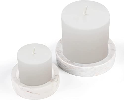 discount WORHE Premium Candle Holders True Natural Marble, Set of 2 Pillar high quality Candle Holder for Table Home Decoration, Scented Candle Stand 2021 for Gift Wedding Color White (ZT012) outlet online sale