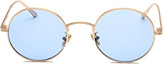 Fulision Sunglasses Retro Vintage Style Round Red Lens Sunglasses Metal Circle for Women and Men