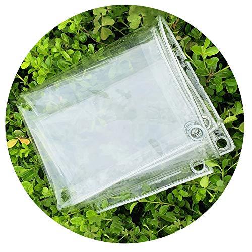 YYFANG Lonas Impermeables Exterior, Lona de PVC Transparente con Ojales de Metal Pieza de plastico, Toldo Engrosado a Prueba de Viento, Cubierta de Lluvia Plegable para Plantas con Cuerda