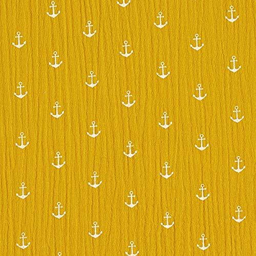 Musselin/Doppel Krinkel Gewebe Anker – senf/weiss — Meterware ab 0,5m — STANDARD 100 by OEKO-TEX® Produktklasse I — zum Nähen von Babybekleidung, Hemden und Hosen