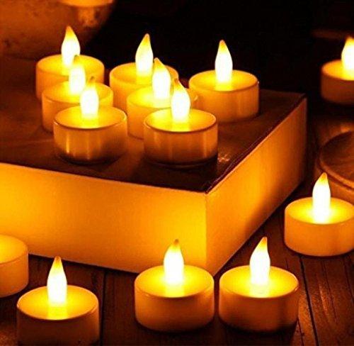 Gespout Bougies 12pcs LED Blanc Réaliste et Bright sans Flamme Livré avec Une Batterie Party Anniversaire Mariage Dîner Romantique Différentes Couleurs (Blanc-Jaune)