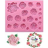 Xkfgcm Molds Formen 3D Rose Blume Silikonform mit großen Rosen Fondant Geschenk Dekorieren...