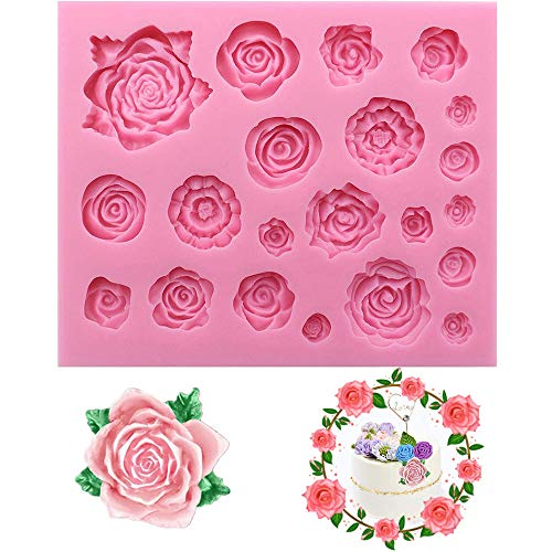 Xkfgcm Molds Formen 3D Rose Blume Silikonform mit großen Rosen Fondant Geschenk Dekorieren Schokolade Cookie Seife Polymer Clay Harz Backformen DIY Tools 4.92 * 4.13 * 0.39 in 1 Stück(Rosa)