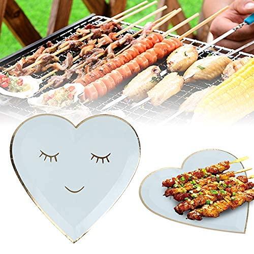 Piatto di Carta Non tossico, Piatto Blu USA e Getta da 9 Pollici da 8 Pezzi, USA e Getta a Forma di Cuore per Barbecue per Feste, Barbecue, Picnic, Cibo, Torta, spunti