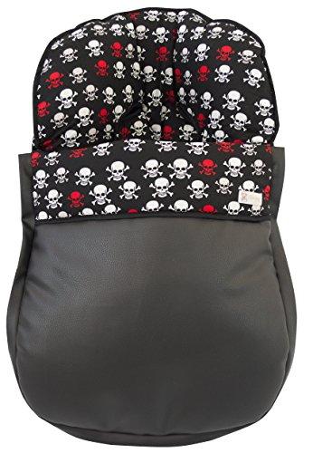 Sac étui universel Groupe 0 Maxicosi en coton 100% de crânes et cuir synthétique imperméable. Fabriqué en Espagne. Noir