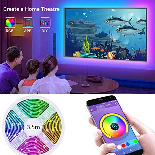 LED TV Hintergrundbeleuchtung mit APP-Steuerung, 3,5 m RGB-LED-Streifen für 40-60 Zoll HDTV Fernseher, USB LED Strip, Synchronisierung mit Musik, Bias Lighting, 5050 RGB für Android iOS