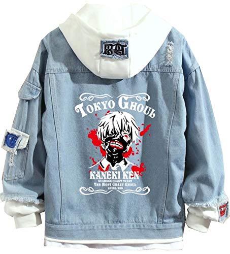 Tokyo Ghoul - Giacca in jeans Manga con strisce disegnate, casual, a maniche lunghe, taglia S-3XL Tokyo Ghoul Anime Veste en Jean 03 XL