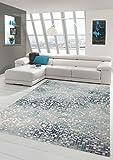 Traum Alfombra Alfombra diseñador contemporáneo Alfombra de la Sala Alfombra de Pelo Corto con el Corte de Contorno a Cuadros en Gris Crema de Color Turquesa Größe 160x230 cm