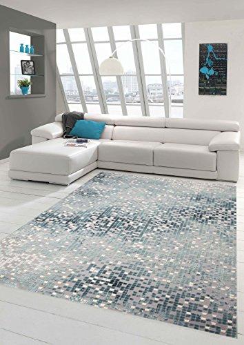 Traum Alfombra Alfombra diseñador contemporáneo Alfombra de la Sala Alfombra de Pelo Corto con el Corte de Contorno a Cuadros en Gris Crema de Color Turquesa Größe 80 x 300 cm