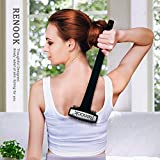 RENOOK Folding Back Scratcher, Over-Sized Bristled Scratching Head Body Brush, Long Handle with Massage Rollers, Labor-Saving and Flexible!