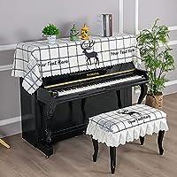ピアノカバー 標準直立型ピアノ用 電子ピアノカバー アップライト トップカバー 防塵 椅子カバー シンプル 高級 上品 厚手 優雅 フリル付き ピアノ掛け (椅子カバー(二人掛けタイプ)78*38cm,格子)
