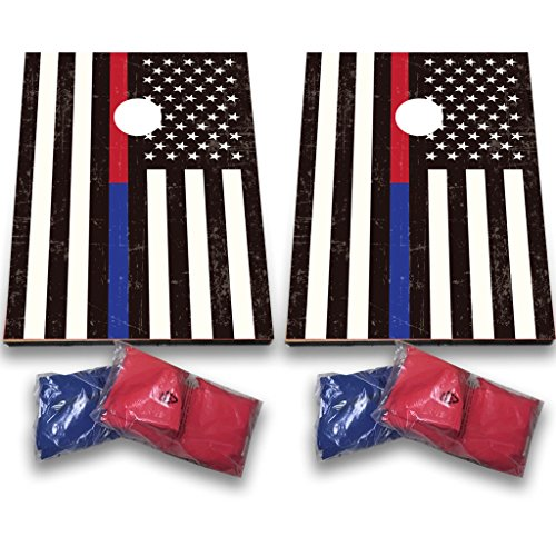 VictoryStore Thin Blue Line and Thin Red Line American Flag Bag Toss in Support of First Responders Police, Firefighters, EMS