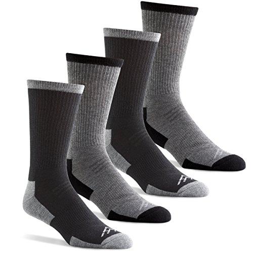 Hidden Peak Outdoor Men's Wool-Free Performance Hiking Crew Socks - Charcoal/Black (Men's Shoe Size 6-12)