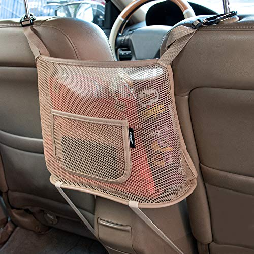eing Car Mesh Organizer,Seat Back Net Bag,Car Console Barrier of Backseat Pet Kids,Auto Driver Storage Netting Pouch,Cargo Tissue Purse Holder Pocket,Pu Leather Beige
