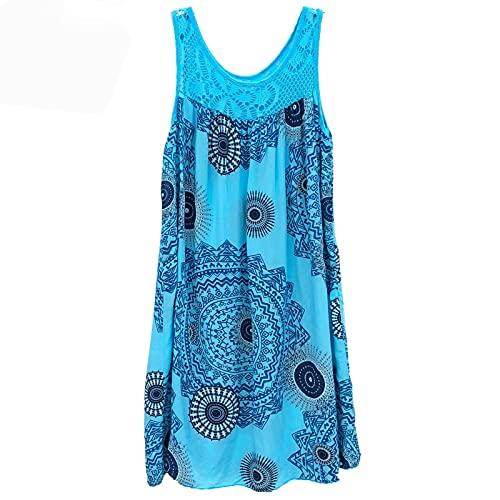 NAQUSHA Mini vestido de playa de encaje bohemio estampado floral empalme sin mangas con eslinga (azul cielo, XXXXL)